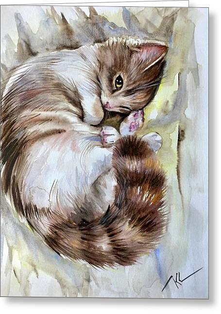 Sleepy Cat 2 Greeting Card