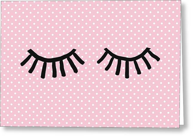 Sleepy Eyes And Polka Dots- Art By Linda Woods Greeting Card
