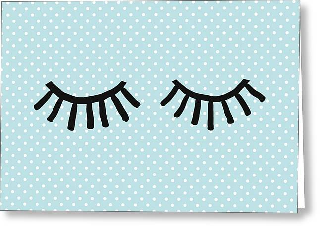 Sleepy Eyes And Polka Dots Blue- Art By Linda Woods Greeting Card