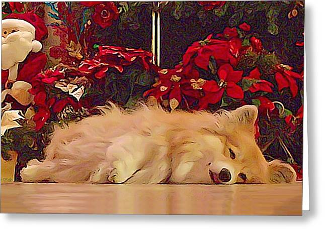 Greeting Card featuring the photograph Sleepy Holiday Corgi Surrounded By Poinsettias. by Kathy Kelly