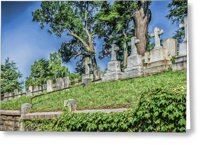 Sleepy Hollow Cemetery - Crosses On Hill Greeting Card