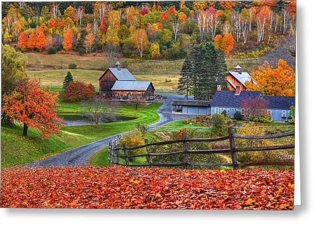 Sleepy Hollows Farm Woodstock Vermont Vt Autumn Bright Colors Greeting Card by Toby McGuire