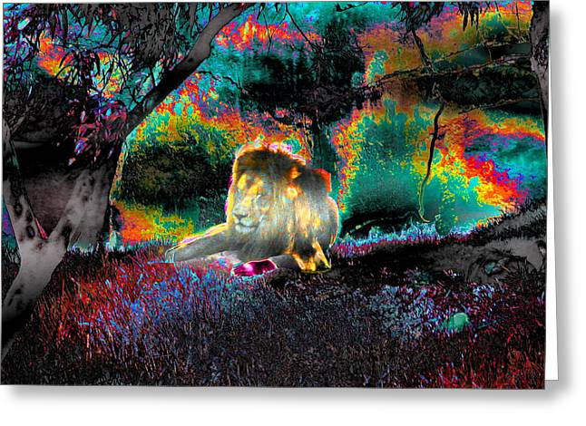 Sleepy Lion In A Surreal Fantasy Landscape Greeting Card by Abstract Angel Artist Stephen K