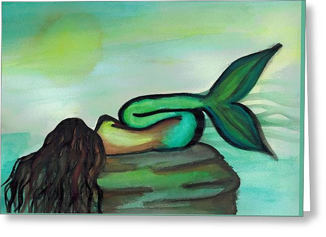 Sleepy Mermaid Greeting Card by Kayla Roeber