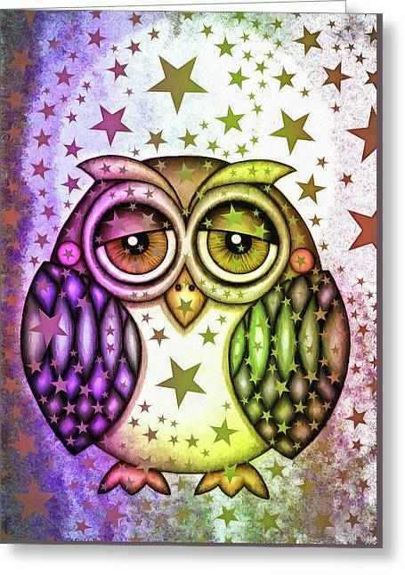 Greeting Card featuring the photograph Sleepy Owl With Stars by Matthias Hauser