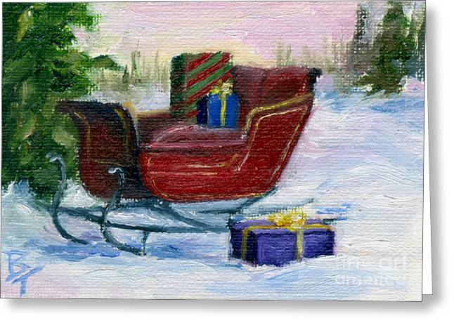 Greeting Card featuring the painting Sleigh Aceo by Brenda Thour