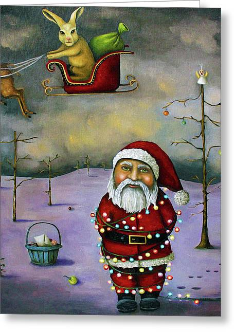 Santa Greeting Cards - Sleigh Jacker Greeting Card by Leah Saulnier The Painting Maniac