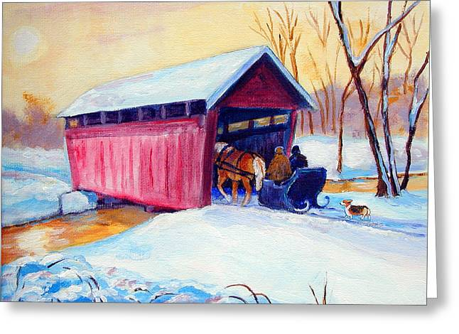 Sleigh Ride - Pembroke Welsh Corgi Greeting Card by Lyn Cook