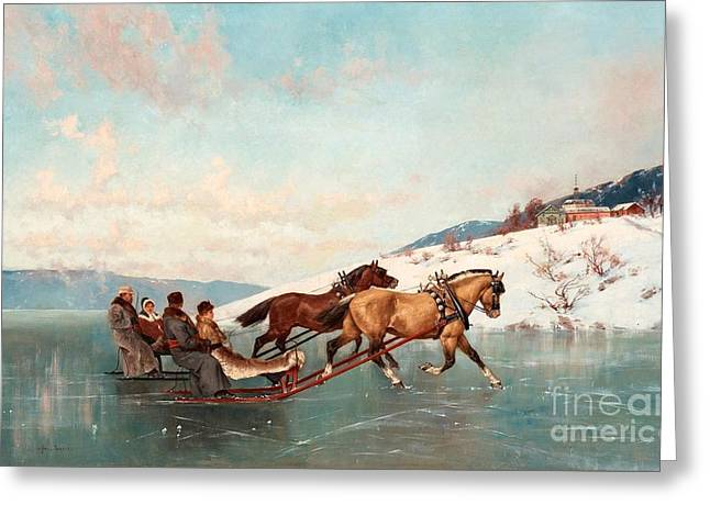 Sleigh Ride Greeting Card by Axel Ender