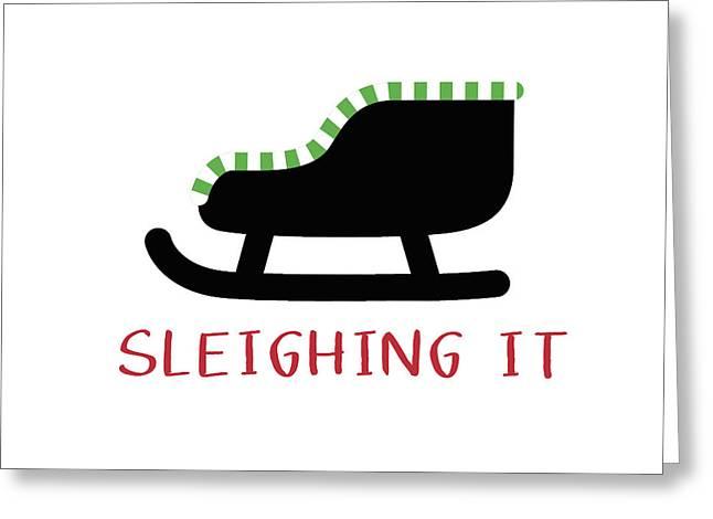 Sleighing It- Art By Linda Woods Greeting Card by Linda Woods