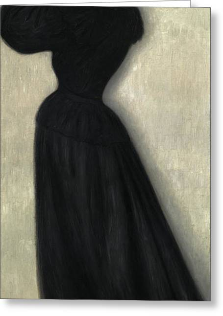 Slender Woman With Vase Greeting Card