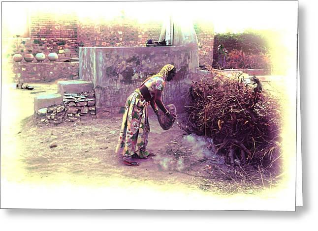 Slice Of Life Garbage Disposal Indian Village Rajasthani 2b Greeting Card