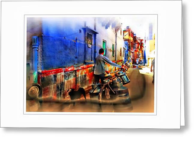 Slice Of Life Milkman Blue City Houses India Rajasthan 1a Greeting Card