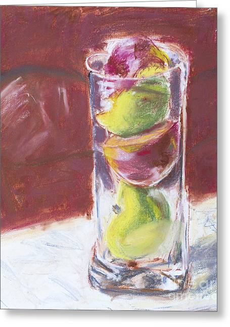 Sliced Apples Pastel Greeting Card by Edward Fielding