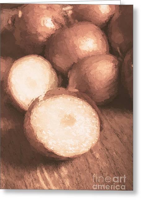 Sliced Brown Onion Digital Oil Painting Greeting Card