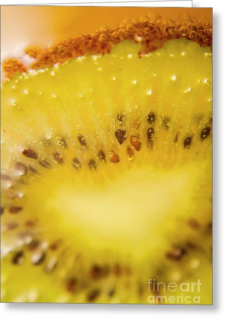 Sliced Kiwi Fruit Floating In Carbonated Beverage Greeting Card