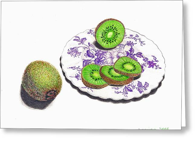Sliced Kiwi Greeting Card by Loraine LeBlanc