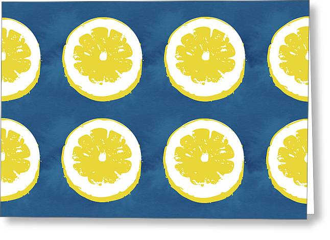 Sliced Lemons On Blue- Art By Linda Woods Greeting Card by Linda Woods