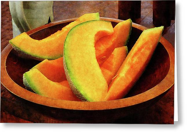 Slices Of Cantaloupe Greeting Card by Susan Savad