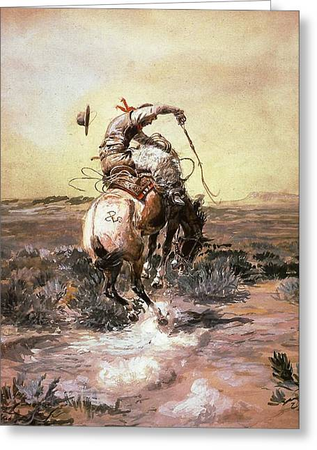 Slick Rider Greeting Card by Charles Russell