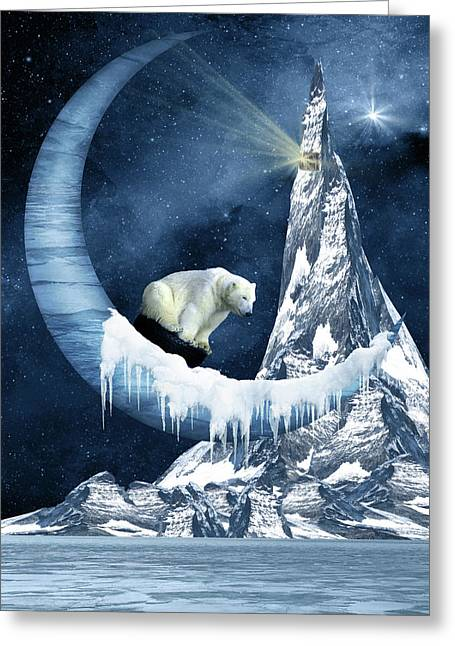 Sliding On The Moon Greeting Card