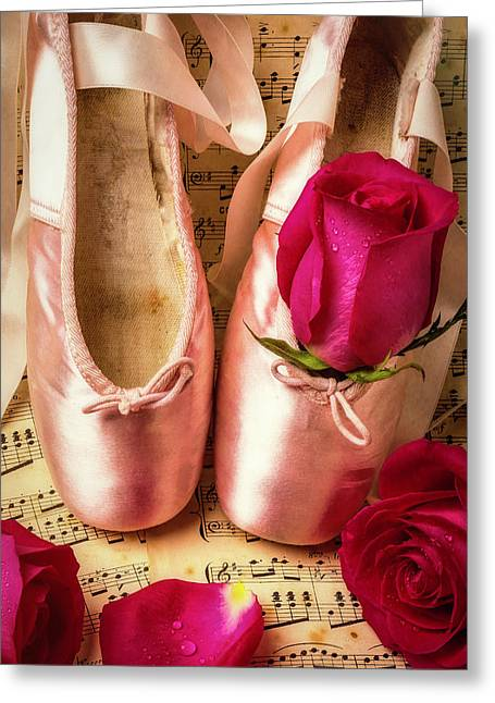 Slippers And Roses Greeting Card