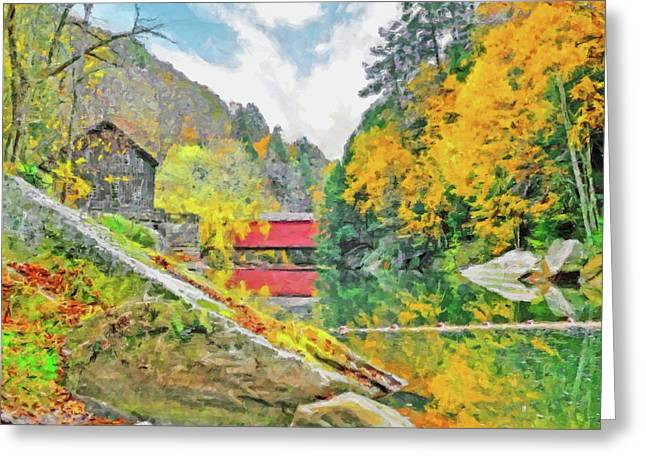 Greeting Card featuring the digital art Slippery Rock Creek At Mcconnells Mill by Digital Photographic Arts