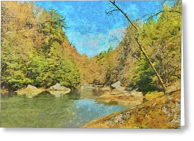 Greeting Card featuring the digital art Slippery Rock Creek by Digital Photographic Arts