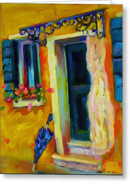 Greeting Card featuring the painting Sliver Of Sunshine by Chris Brandley