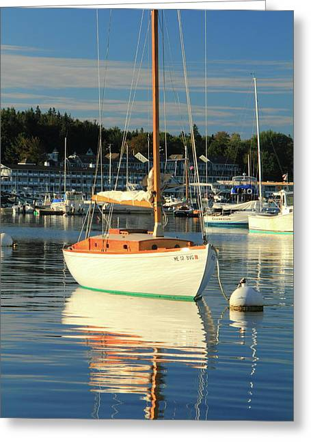 Sloop Reflections Greeting Card by Roupen  Baker