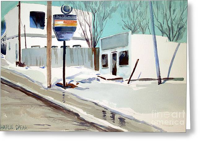 Greeting Card featuring the painting Sloppy Slushy Washington Ave. Matted Framed Glassed by Charlie Spear