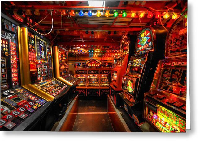 Things Light Greeting Cards - Slot Machines Greeting Card by Yhun Suarez