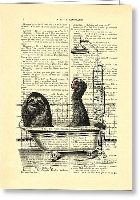 Sloth, Funny Children's Art, Bathroom Decor Greeting Card by Madame Memento