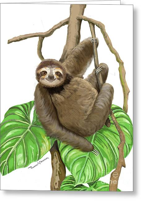 Greeting Card featuring the mixed media Hanging Three Toe Sloth  by Thomas J Herring