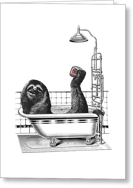 Sloth In Bathtub Taking A Shower Greeting Card by Madame Memento
