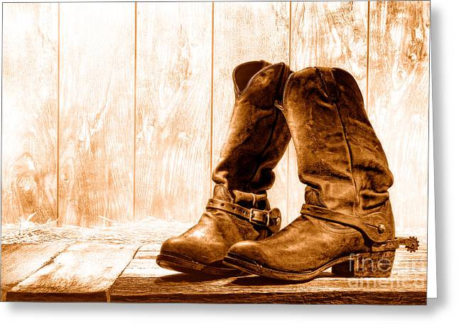 Slouch Cowboy Boots - Sepia Greeting Card by Olivier Le Queinec