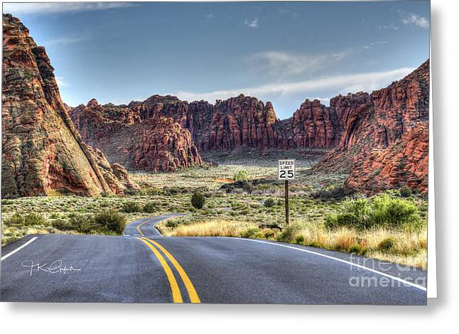 Slow Down In Snow Canyon Greeting Card