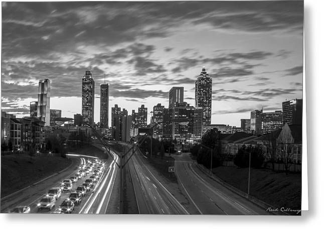 Slow Go Home Atlanta Downtown Black And White Art Greeting Card by Reid Callaway