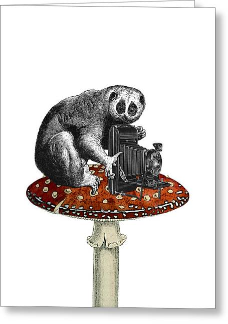 Slow Loris With Antique Camera Greeting Card