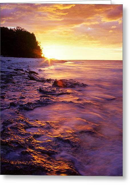 Slow Ocean Sunset Greeting Card
