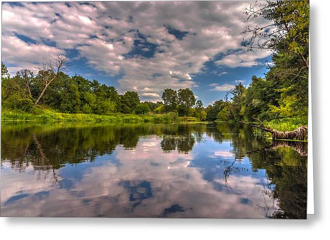 Greeting Card featuring the photograph Slow River Reflections by Julis Simo