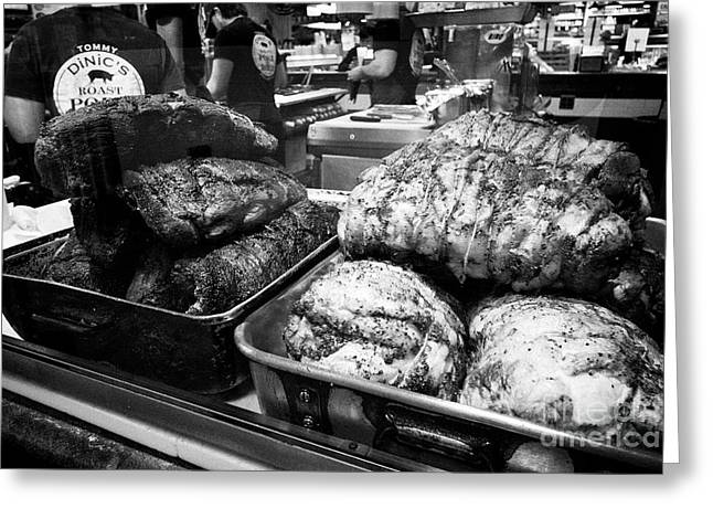 slow roasted bbq beef and turkey at reading terminal market food court Philadelphia USA Greeting Card