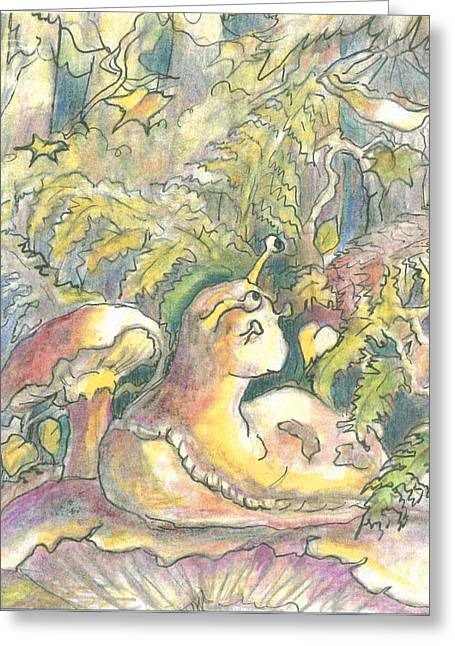 Slug On A Mushroom Greeting Card by KC Winters