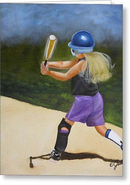 Greeting Card featuring the painting Slugger by Joni McPherson