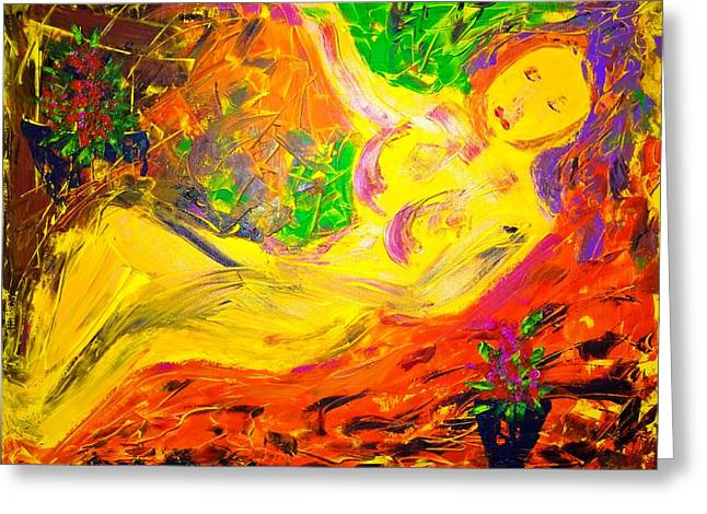 Greeting Card featuring the painting Slumber by Piety Dsilva