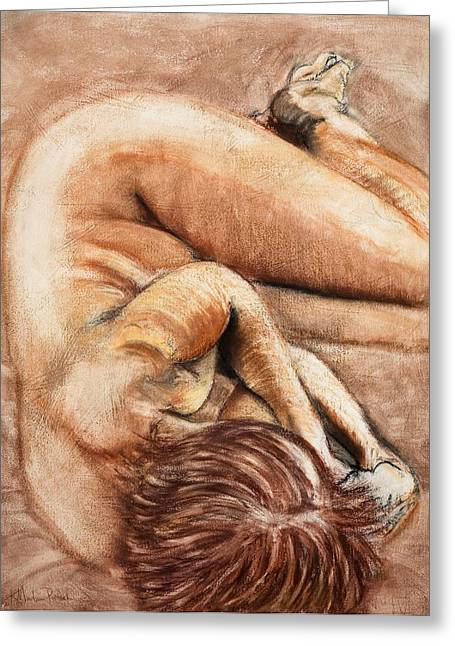 Nude Greeting Cards - Slumber Pose Greeting Card by Kerryn Madsen-Pietsch