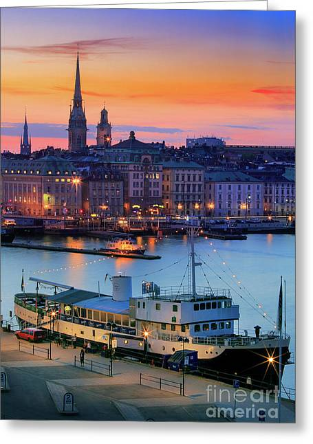 Slussen By Night Greeting Card by Inge Johnsson