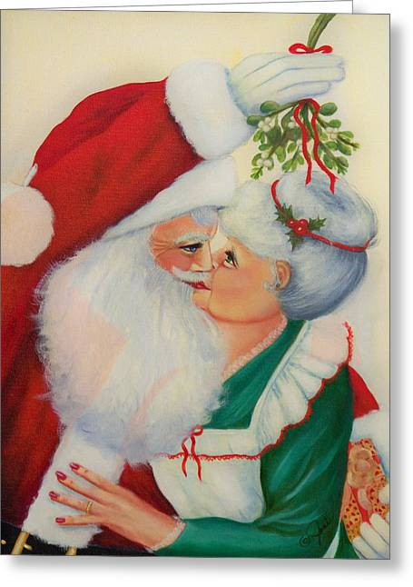 Santa Greeting Cards - Sly Santa Greeting Card by Joni McPherson