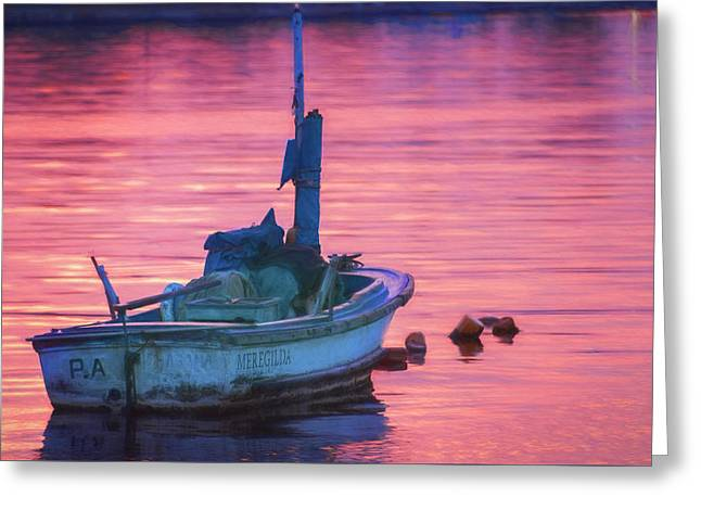 Small Boat At Dawn Havana Cuba  Greeting Card