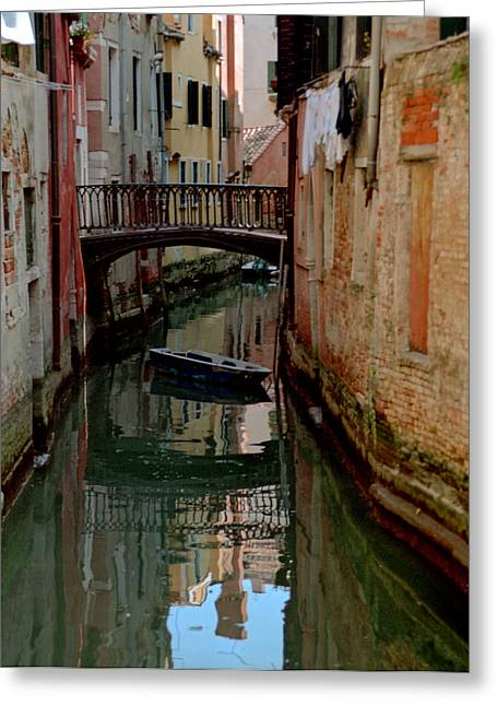 Small Boat On Canal In Venice For Vrooman Greeting Card by Michael Henderson